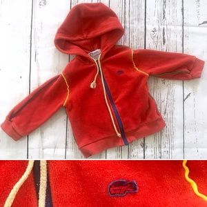 Vintage 1980's baby Lacoste red velour hoodie top